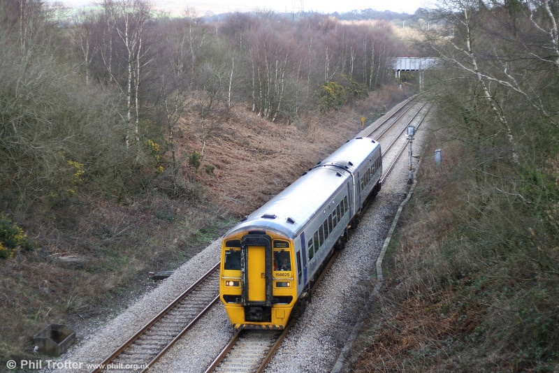 A working not often photographed outside the summer season is ATW's 1055 Cardiff - Fishguard Harbour which traverses the Swansea District Line. Here's 158825 at Llangyfelach on 3rd March 2007.