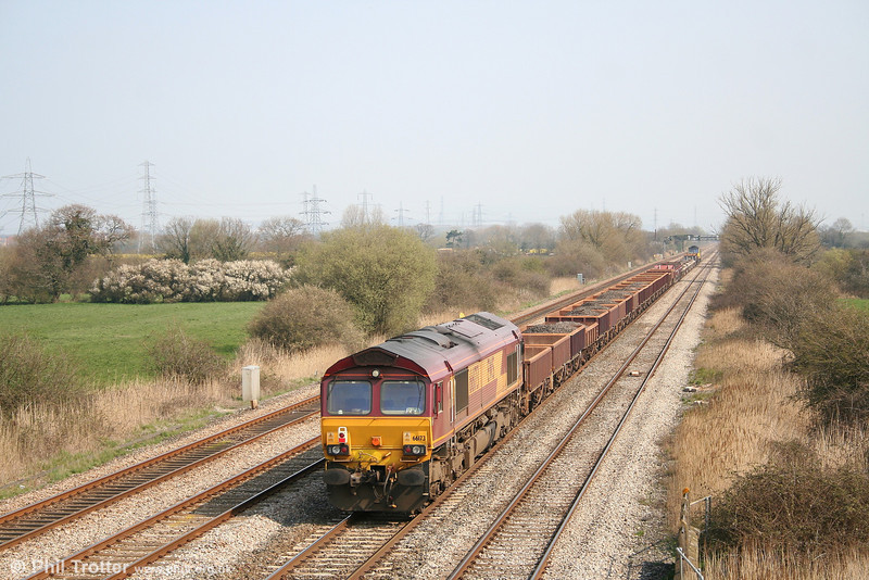 66173 at the rear of an engineering train for Alexandra Dock Junction at Coedkernew on 1st April 2007