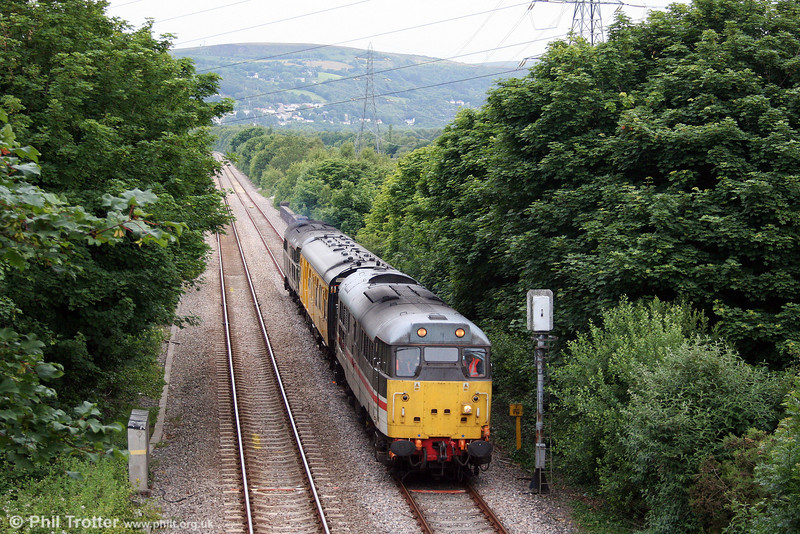 31454 'The Heart of Wessex' heads Landore - Onllwyn - Carmarthen test train 2Z08 through Felin Fran, Swansea District Line, on 17th June 2008.