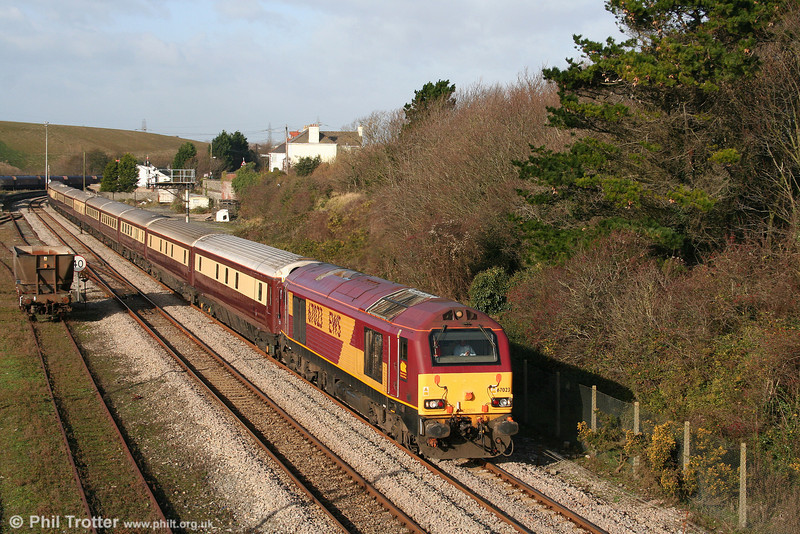 Class 67s are an unusual sight on the Vale of Glamorgan line. 67023 passes Aberthaw with the Northern Belle ECS, running as 5Z79, 1051 Margam to Crewe LNWR on 23rd November 2008. The set had been stabled overnight at Margam, having worked a Cardiff to Chester and return Christmas Shopping excursion the previous day.