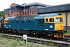 Cotswold's 33202, now in BR blue livery, awaits the fitting of OTMR before it can work on the main line. It is seen stabled at Gloucester on 17th May 2008.