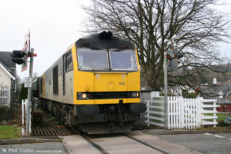 60060 'James Watt' at the level crossing at Rhiwderin with 6Z80, 1410 Machen Quarry to Acton Yard on 29th November 2008.