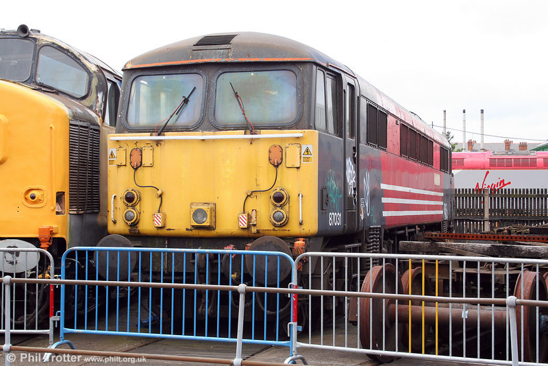 Stored 87031 'Hal o' the Wynd' awaits a decision on its future at Tyseley on 28th June 2008. The loco had been placed at Tyseley as part of a training scheme; it was eventually cut up in September 2010 by EMR, Kingsbury.