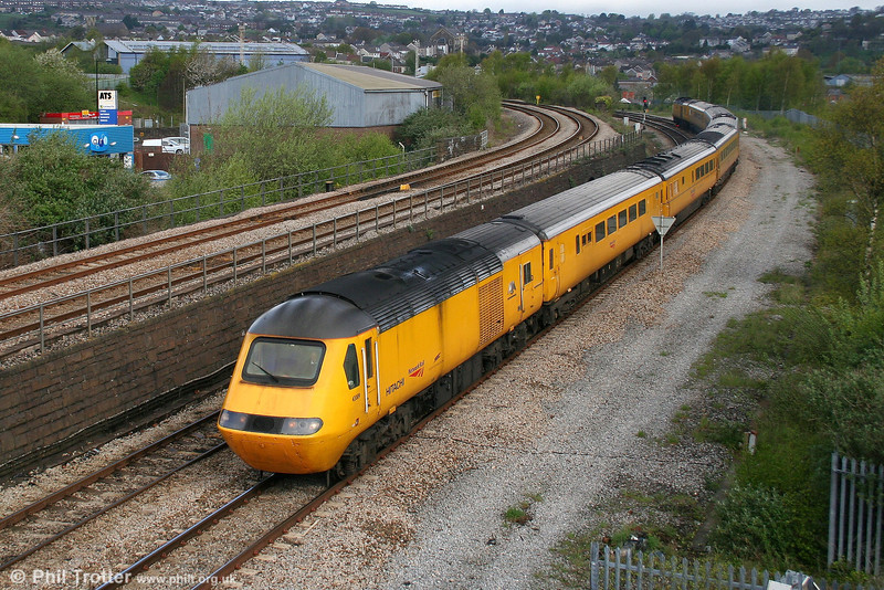 Network Rail's battery assisted 43089 'Hayabusa' leads the NMT past Landore forming 1Z20, 0542 Old Oak Common to Swansea on 2nd May 2008.