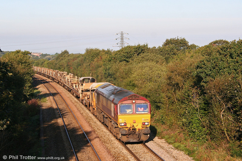 66096 climbs Stormy Bank with engineers' train 6W10 on 14th September 2008. The train was run in connection with engineering work at Miskin.