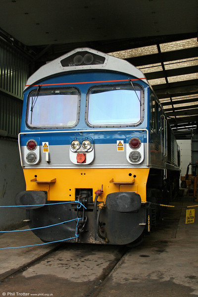 Yeoman 59002 'Alan J. Day' in the maintenance shed at Merehead on 21st June 2008.