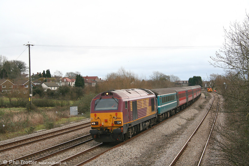 67026 passes Magor at the head of 1Z31, 0922 London Paddington to Cardiff 'rugex' on 23rd February 2008.