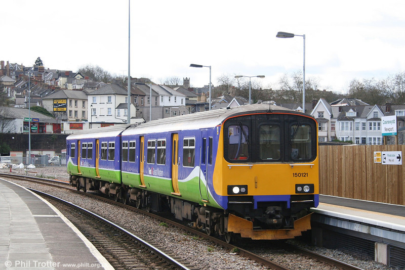 Ex-Silverlink 150121 calls at Newport forming the midday Cardiff Central to Taunton on 24th March 2008.