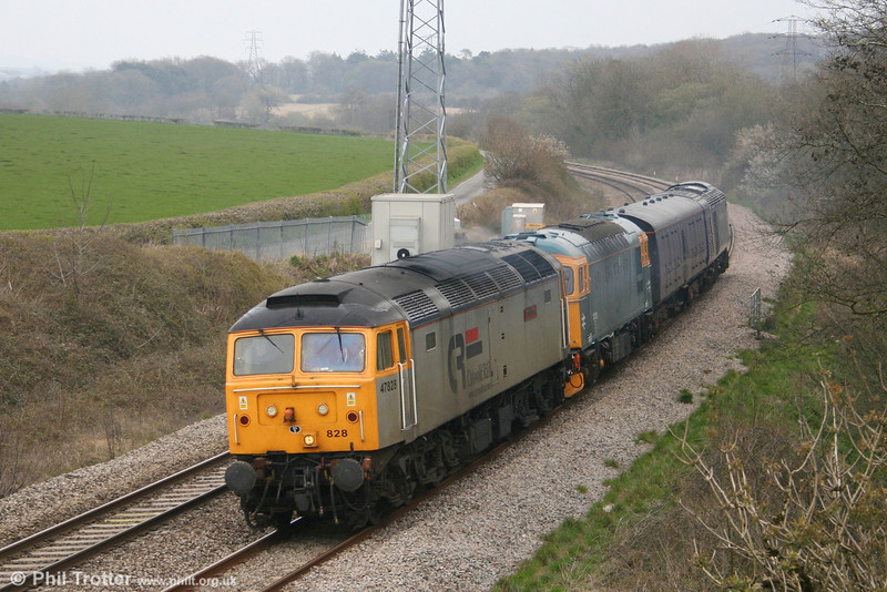 Cotswold 47828 'Joe Strummer' at Llangewydd with 5Z46, 1110 Brush, Loughborough to Landore TMD with FGW power car 43093 on 18th April 2008. Also included is 33202 which was being taken from Loughborough to Gloucester (via Swansea!).