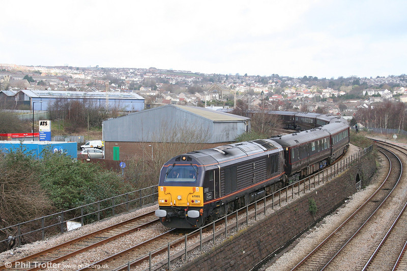 67005 'Queen's Messenger' passes Landore with the 'Somewhere in West Wales' to Swansea Royal Train on 7th March 2008.