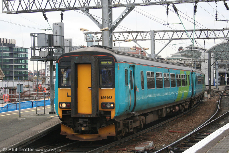 One of the last units in Northern Spirit livery, 156463 departs from Manchester Piccadilly with the 1514 Liverpool Lime Street to Manchester Airport on 17th March 2008.