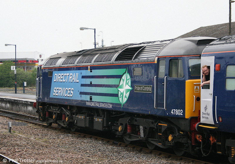 DRS 47802 'Pride of Cumbria' showing the detail of the 'compass' livery at Carmarthen on 15th May 2008. The locomotive's name - the first it has carried - was applied in February 2008.