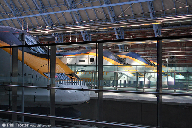 With services still disrupted by the Channel Tunnel fire of September 11th, four 'Eurostar' sets await their turn to depart for the continent from St. Pancras International. 20th September 2008.