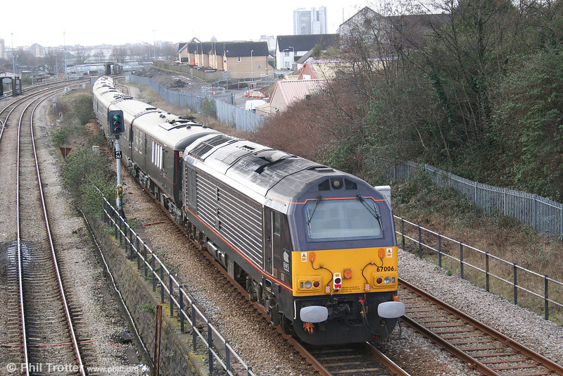 67006 'Royal Sovereign' at Swansea Loop East bringing up the rear of the Royal Train on 7th March 2008.