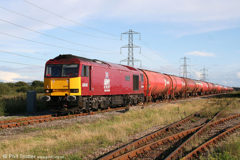 Red-liveried 60040 'The Territorial Army Centenary' at Margam Knuckle Yard with 6B33, 1333 Theale to Robeston empty Murco tanks on 14th August 2008.