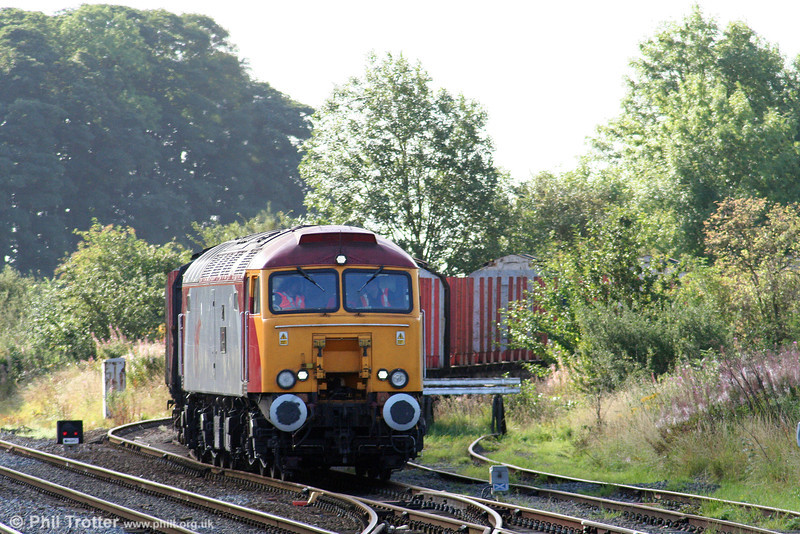 Having run around its train at Gobowen, 57311 waits clearance to rejoin the main line from the Oswestry branch before heading north to Carlisle on 2nd September 2008.