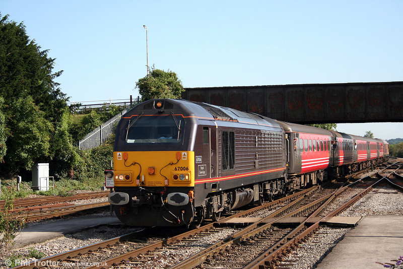 67006 'Royal Sovereign' slows to call at Westbury heading 2O72, FGW's 0909 Bristol Temple Meads to Weymouth on 23rd August 2008.