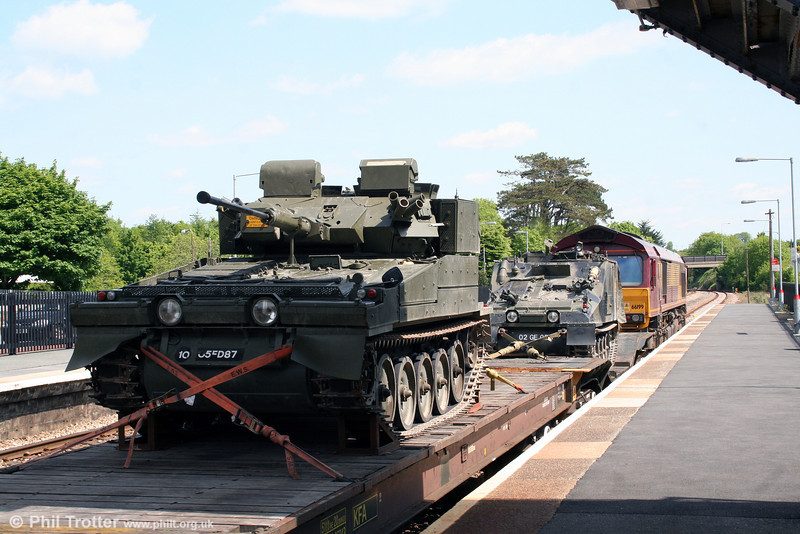Part of 66199's military load in close-up at Haverfordwest on 19th May 2008.