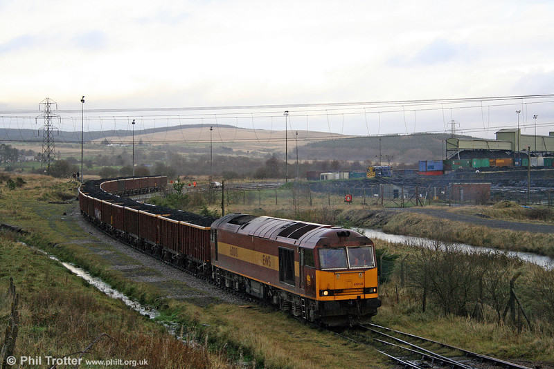 Having arrived at Onllwyn, 60018 shunts the loaded MEAs, before returning to Margam with empties on 22nd November 2008.