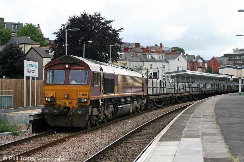 66187 at Newport with 6V49, 2204 (previous night) Tees Yard to Newport Docks aluminium ingots on 12th July 2008.
