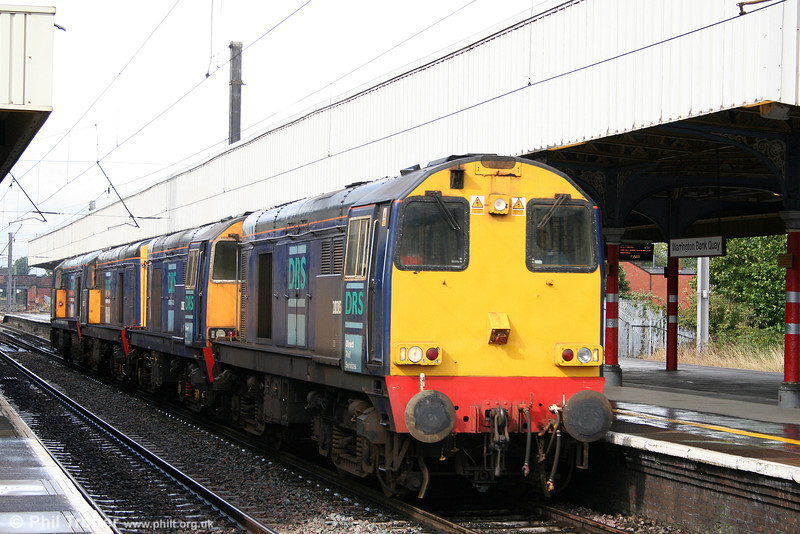 A quartet of DRS class 20s head through Warrington Bank Quay on 2nd September 2008. The locos are 20315, 20313, 20307 and 20302 running as 0Z20 Carlisle to Crewe.