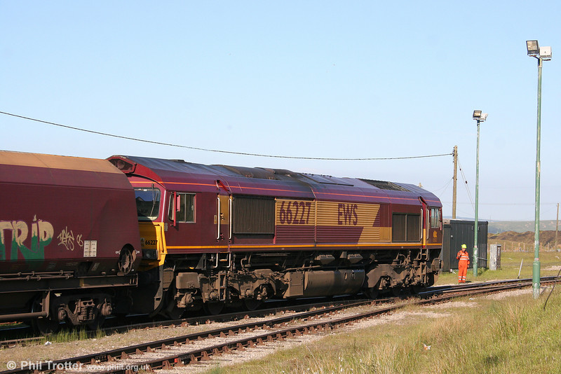 The shunter watches 66227 over the level crossing at Cwmbargoed on 7th June 2008.