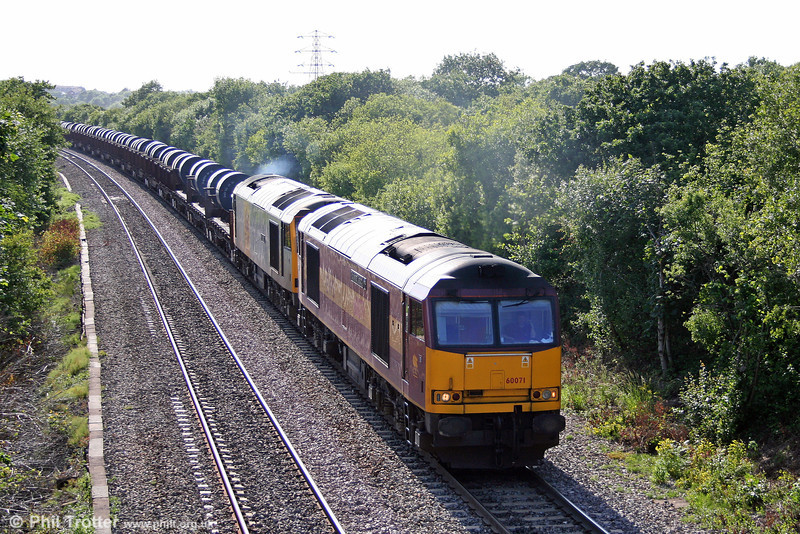 60071 'Ribblehead Viaduct' and 60091 'An Teallach' tackle Stormy Bank with 6E30, 1750 Margam to Hartlepool on 23rd June 2008. 60091 was being moved to Toton for repair.