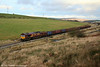 66132 progresses away from Onllwyn at the head of 6F81, 1520 Onllwyn to Margam empty MEAs on 13th December 2008.