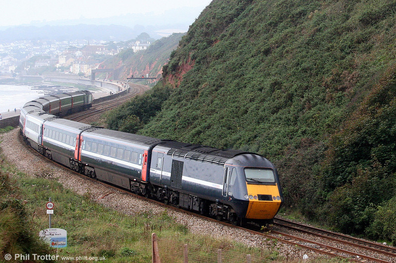 NXEC 43053 in modified GNER livery brings up the rear of XC's 1V29, 0724 Manchester Piccadilly to Newquay at Dawlish Warren on 30th August 2008.