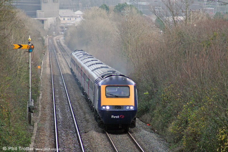 The 0930 London Paddington to Swansea is seen near Gileston on 23rd November 2008.