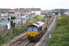 66166 runs light through Llanelli as 0Z71, 1025 Margam to Carmarthen on 3rd May 2008. This was a positioning move so that the loco could take over the Carmarthen to Fishguard leg of that day's 'The Southern Irishman' railtour.