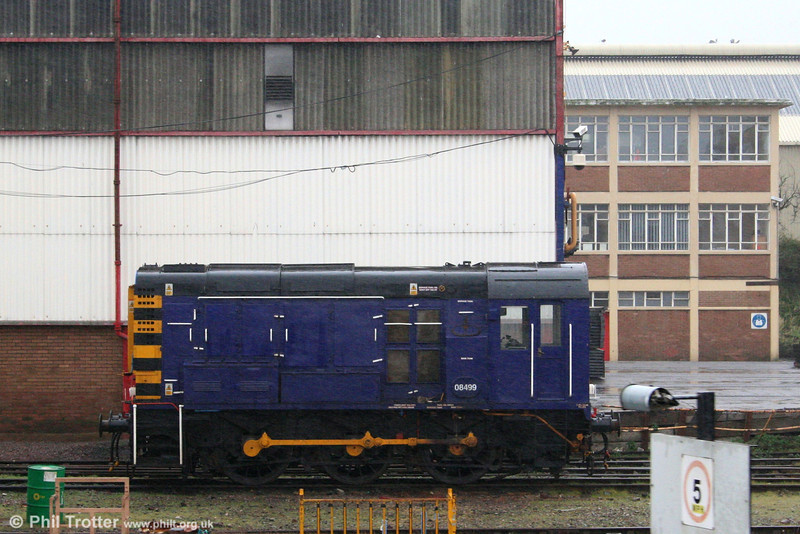 Pullman Rail's 08499 at Cardiff Canton on 8th March, 2008.