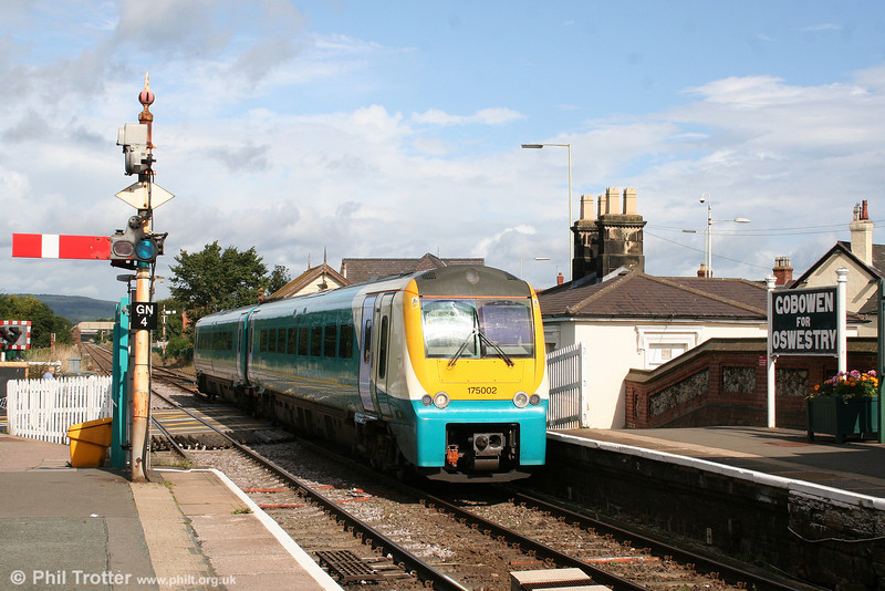 175002 calls at Gobowen forming the 0810 Holyhead to Cardiff Central on 2nd September 2008.