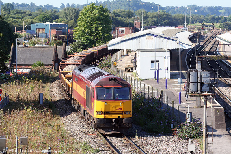 60071 'Ribblehead Viaduct' sits at the rear of a spoil train at Westbury on 23rd August 2008.