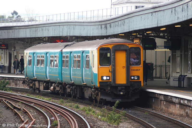 ATW 150257 now has lost its Arriva branding and is on loan to FGW. On 16th April 2008 it was seen at Bristol Temple Meads working the 1119 Bristol Parkway to Weymouth.