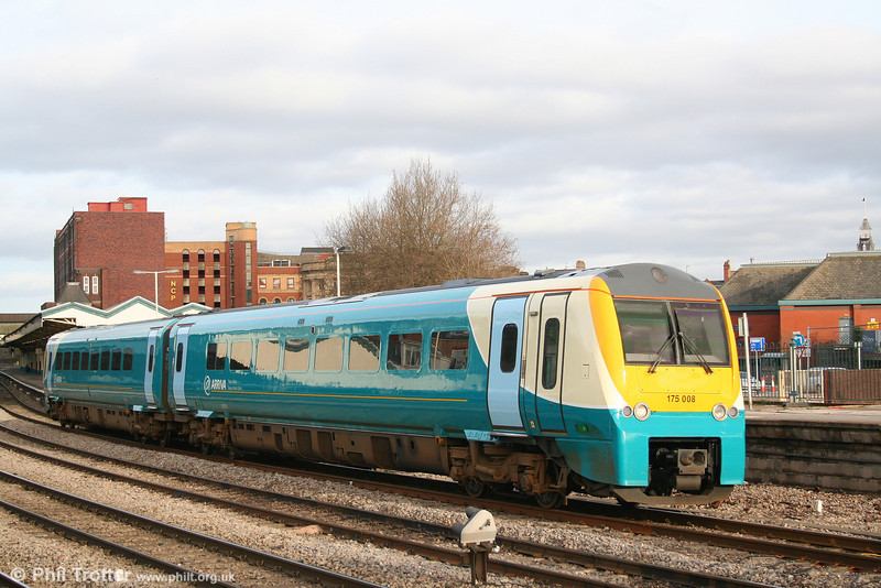 ATW 175008 in its new livery leaves Newport for Carmarthen on 26th January 2008.