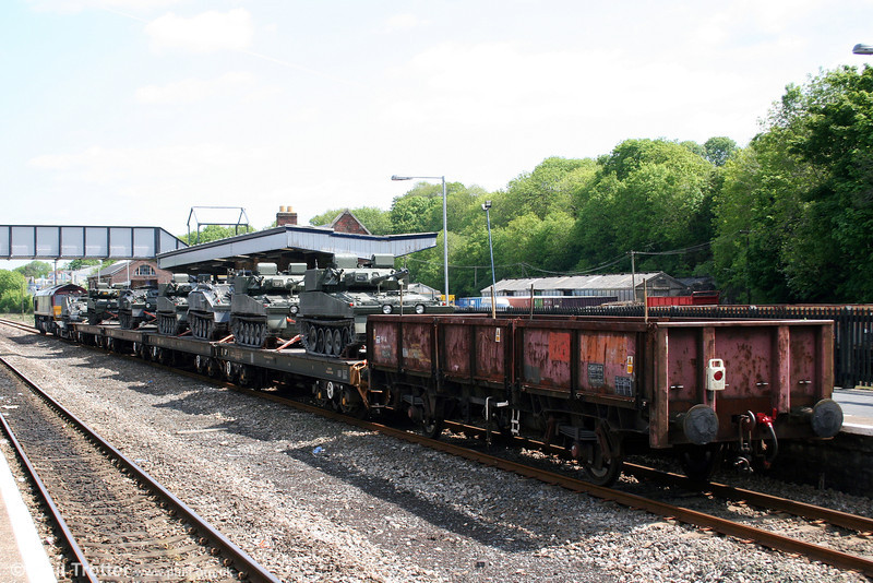 A look at 66199's train of AFVs at Haverfordwest on 19th May 2008.