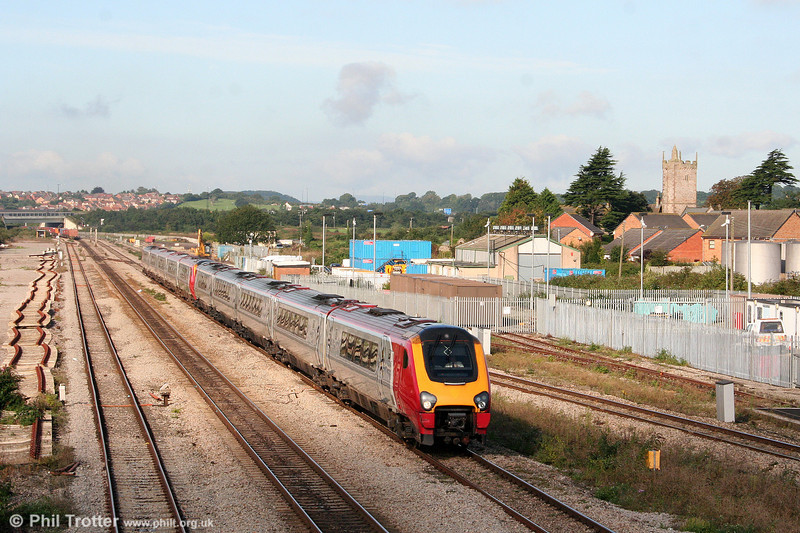 A pair of class 221s form a Cross Country service at Severn Tunnel Junction on 13th September 2008.