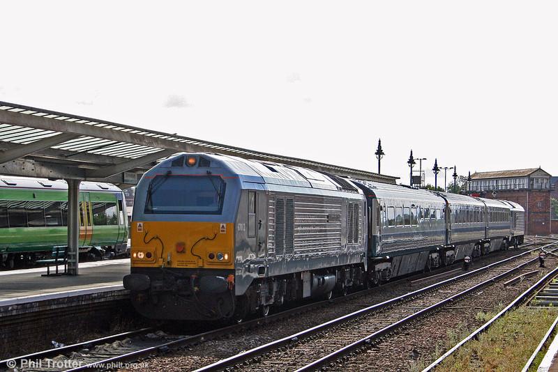 Wrexham & Shropshire 67012 'A Shropshire Lad' arrives at Shrewsbury with 1J80, 0645 London Marylebone to Wrexham on 1st September 2008.