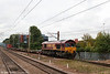 66127 approaches Stevenage with 4L45, 1015 Wakefield Europort to Felixstowe intermodal on 11th September 2008.