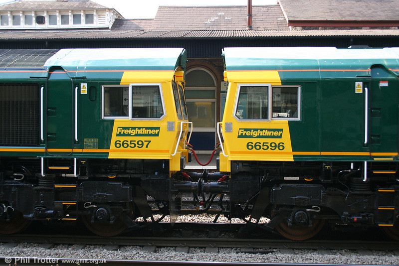 Brand new FL 66596 and 66597 at Newport on 16th April 2008.