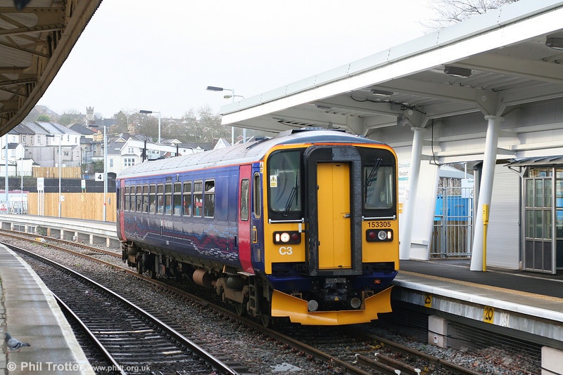 The first of the refurbished FGW class 153s is now in traffic. 153305 is seen arriving at Newport forming the 1100 Cardiff to Taunton on 5th January 2008.