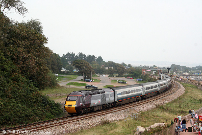 Recently outshopped XC 43303 brings up the rear of 1E47, 0940 Newquay to Derby at Dawlish Warren on 30th August 2008.