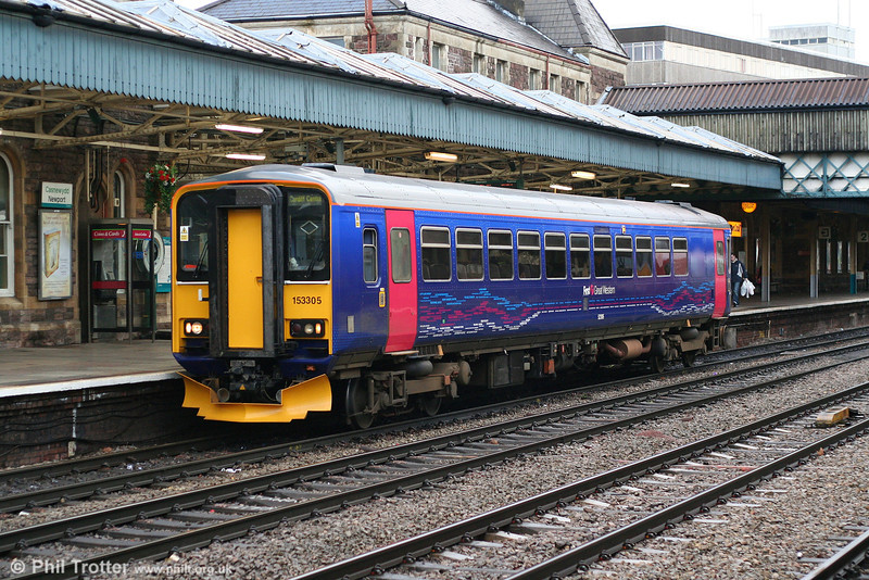 Newly refurbished FGW 153305 (the first of its type to appear in the new livery) calls at Newport on 5th January 2008, forming the 1307 Taunton to Cardiff Central. The unit was previously in red Heart of Wessex Line livery.