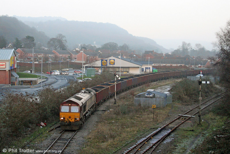 The scene at Neath and Brecon Junction on 31st December 2008 as 66013 returns with train 6F76, 1013 Parc Slip to Onllwyn. The train had been prevented from reaching Onllwyn by the failure of 66034 near Blaenant and was being hauled back to Burrows Yard.