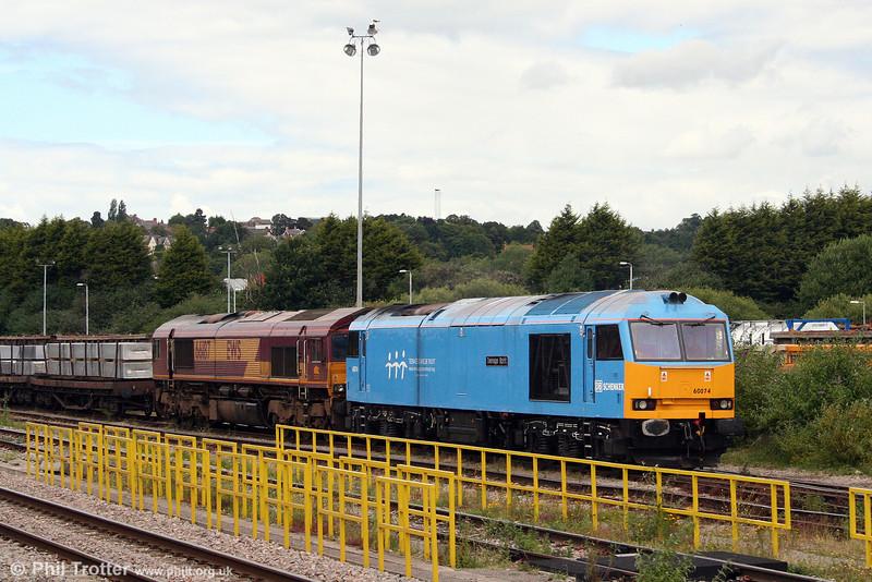 60074 'Teenage Spirit' and 66187 wait at Newport ADJ on 12th July 2008.
