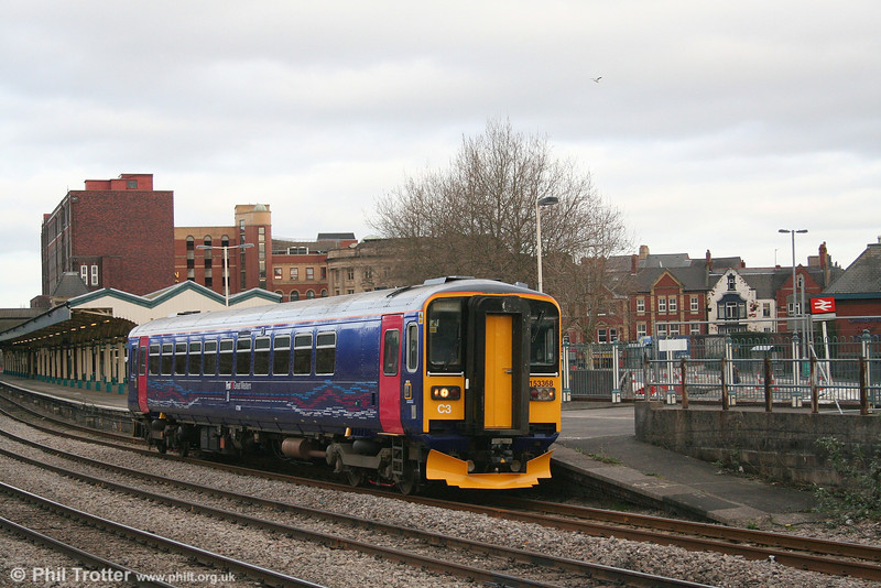 Outshopped from Eastleigh two days earlier, newly refurbished 153368 leaves Newport forming the 1307 Taunton to Cardiff Central on 26th January 2008.