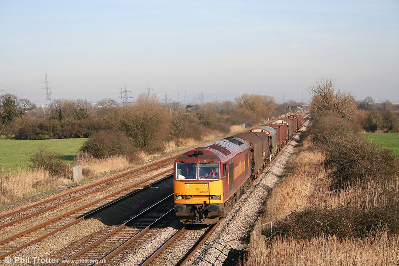 60047 at Coedkernew on 9th February 2008 with 6H26, 1330 Llanwern to Margam.