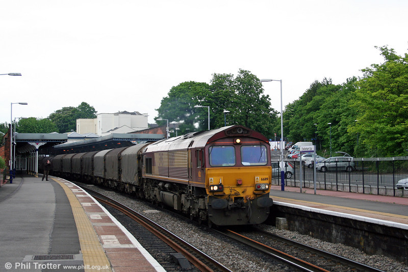 66119 passes through Cheltenham Spa with 6V75, 0930 Dee Marsh to Margam steel empties on 17th May 2008.