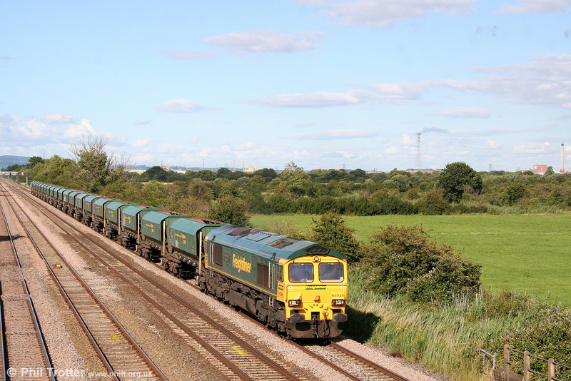 66526 'Driver Steve Dunn (George)' passes Coedkernew with 6Z29, 1429 Theale to Cardiff Pengam on 19th July 2008.